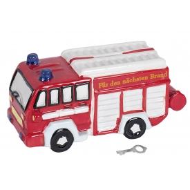 Spardose Feuerwehr Poly mit Schlüssel & Schloss 22x10cm rot/weiß