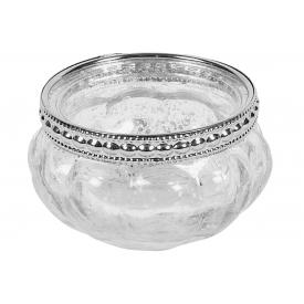 Teelichtleuchter Glas mit Metallmanschette ohne Teelicht 3,5cm Ø6cm antik-silbe