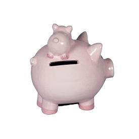 Sparschwein Familien-Kasse mit Gummistopfen rosa glasiert Keramik 12,5x12x13cm