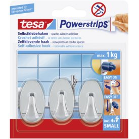 Tesa Haken Powerstrips Small chrom oval 3 Stück