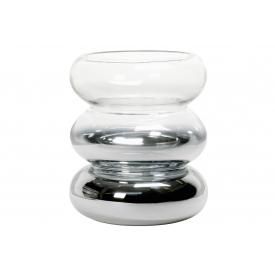 Vase/Windlicht Eleganz Glas 18cm Ø15,5cm silber/klar