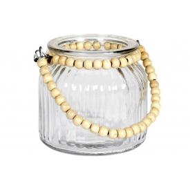 Windlicht Glas mit Perlengriff 10cm Ø11cm klar