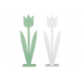 Deko-Objekt Blume Metall sortiert 40x13cm weiß/mintgrün