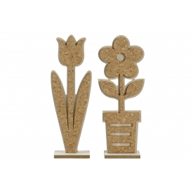 Deko-Objekt Blume Holz/Kork sortiert 35cm natur