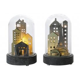 Deko-Objekt Stadt unter Glas Holz/Glas sortiert mit LED ohne 2 x AA Batterien 18