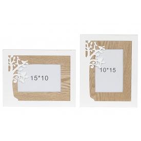 Bilderrahmen Baum Holz für Bildgröße 10x15cm sortiert 19x24cm natur/weiß