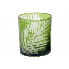 Teelichthalter Blatt H8cm ø7,3cm grün