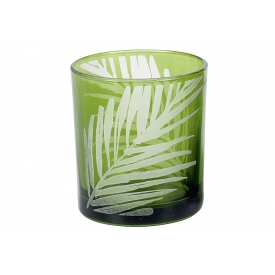 Windlicht Blatt  H12,5cm ø10cm grün