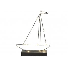 Boot mit Holzsockel LED H37x28cm, 2x1,5 AA Batterie