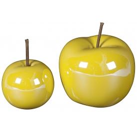 Dekoobst Apfel Keramik gelb 2er Satz