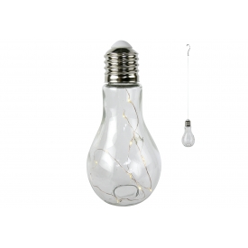 Lampe Glühbirne LED zum hängen Glas mit 1x Batterie CR 2032 18,5cm Ø9,5cm kla