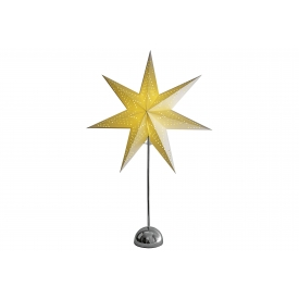 Best Season LED-Standstern Cellcandle Metall/Papier Flocke 75x50cm Batterie Timer chrom/weis