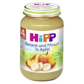 Hipp Banane und Pfirsich in Apfel Babynahrung nach dem 4. Monat