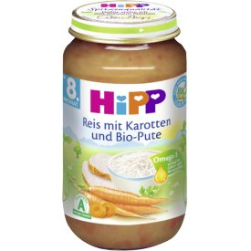 Hipp Reis mit Karotten und Bio-Pute Babynahrung ab 8. Monat
