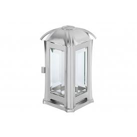 Metallwarenfabrik Moll MOLL Grablaterne Edelstahl mit Glas matt 14x14x24cm inox