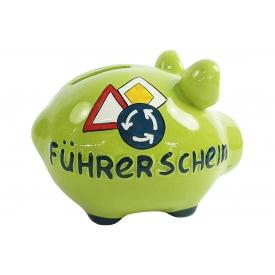 Kcg-das Markenschwein KCG Sparschwein Führerschein Keramik mit Stopfen 12x10cm grün