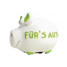 Kcg-das Markenschwein KCG Sparschwein Für's Auto Keramik mit Stopfen 12x10cm grün/weiß