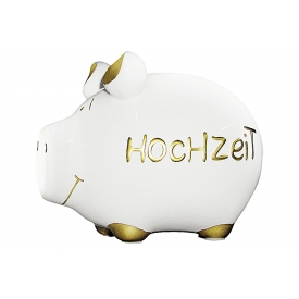 Kcg-das Markenschwein KCG Sparschwein Hochzeit Keramik mit Stopfen 12x10cm gold/weiß