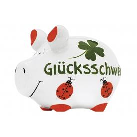 Kcg-das Markenschwein KCG Sparschwein Glücksschwein Keramik mit Stopfen 12x10cm grün/weiß