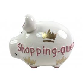 Kcg-das Markenschwein KCG Sparschwein Shopping-Queen Keramik mit Stopfen 12x10cm lila/blau