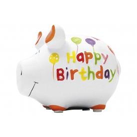 Kcg-das Markenschwein KCG Sparschwein Happy Birthday Keramik mit Stopfen 12x10cm weiß