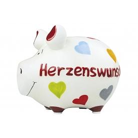 Kcg-das Markenschwein KCG Sparschwein Herzenswunsch Keramik mit Stopfen 12x10cm weiß/bunt