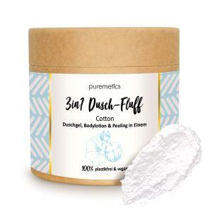 Puremetics Seifen 3in1 Dusch-Fluff mit Zuckerpeeling (Clean Cotton)