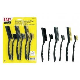 Easy Work EW Universal-Bürstensatz 6-tlg. Stahl vermessingt, Edelstahl und Nylon