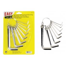 Easy Work EW Seckskant-Stiftschlüsselsatz, 8-tlg., CV-Stahl, vernickelt. Schlüsselweiten