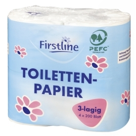 Firstline Toilettenpapier 3lagig 4 x 200 Blatt