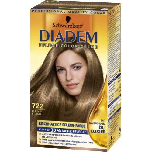 Haarfarbe - Schwarzkopf Diadem Dauerhafte Haarfarbe Seiden-Color-Creme 722 Dunkelblond 1 Stk ...