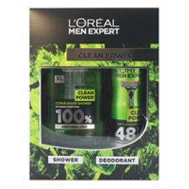 L`Oreal Geschenkset Men Expert Duschgel + Deospray Clean Power