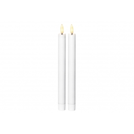 Best Season Leuchterkerze Flamme LED mit Timer 25x2,1cm weiß 2 Stück