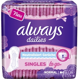 Always Dailies Singles To Go Slipeinlagen Geruchsneutralisierung Normal