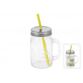 Trinkglas mit Strohhalm und Deckel klar 450 ml