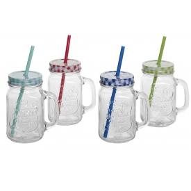 Outdoor-Becher Glas mit Henkel Deckel und Trinkhalm sortiert 450 ml grün/blau/r