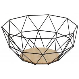 Gusta Deko-Obstkorb Metall mit Holzboden 26,5x25x12cm schwarz