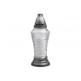 Bolsius Grablaterne Wav transparent mit weißer Kerze