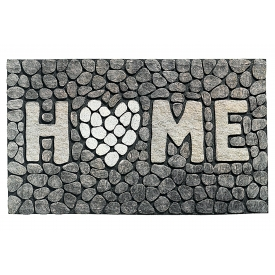 Md-entree Gummiflockmatte Ecomat MP home 46x76cm stone grey
