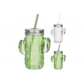 Trinkglas mit Strohhalm und Deckel Kaktus 10x7,5x14cm sort.