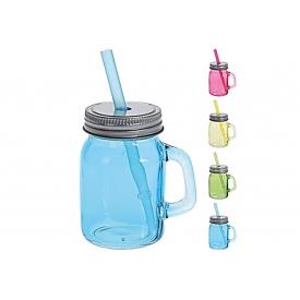 Trinkglas mit Trinkhalm 75ml 4er Satz