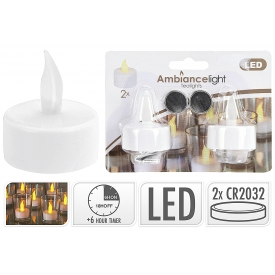 LED Teelicht mit Timer weiss 2er Satz